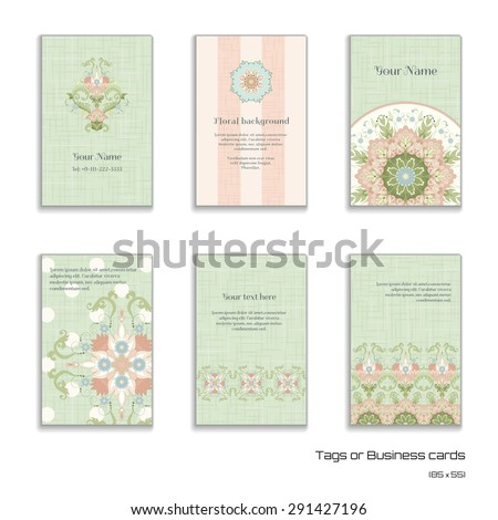 Set of six vector vertical business cards. Beautiful floral pattern in vintage style and delicate canvas texture.Place for your text. - stock vector