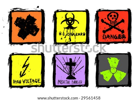 set of six warning signs, grungy and splattered, vector - stock vector