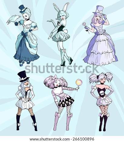 Set of six white illustrations of gothic girls wearing dresses decorated with skulls, rabbit costume,ball dresses, fishnet and boots - stock vector