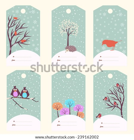 Set of six winter gift tags (vector template) - stock vector