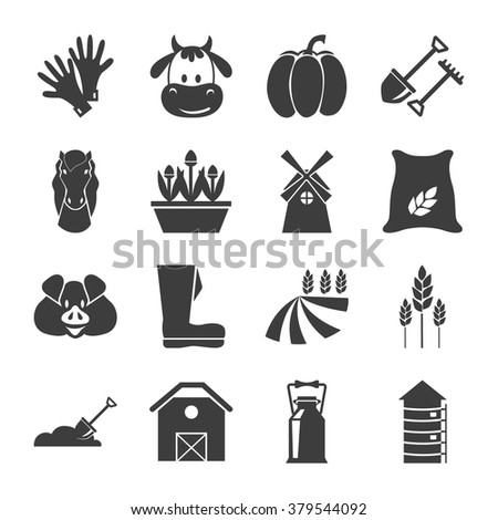 Set of sixteen agriculture icons - stock vector
