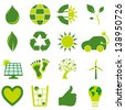 Set of sixteen bio eco environmental related icons and symbols - stock photo