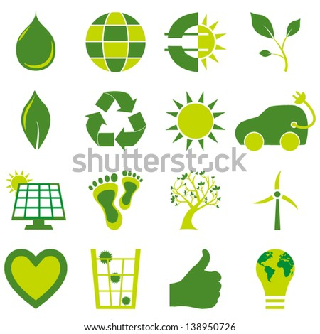 Set of sixteen bio eco environmental related icons and symbols - stock vector