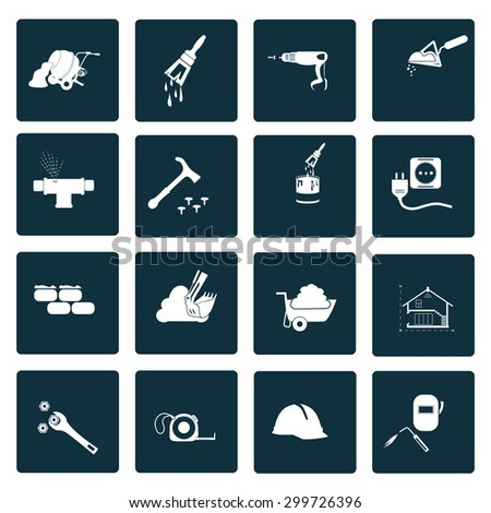 Set of sixteen construction icons - stock vector