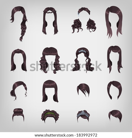 Set of sixteen different black hairstyles for women - stock vector