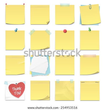 Set of sixteen different yellow sticky notes in vector format. Isolated on white. - stock vector
