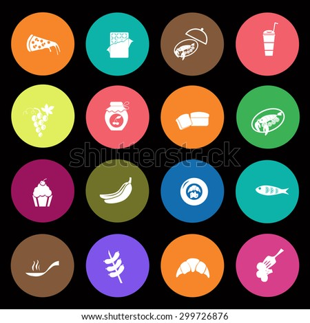 Set of  sixteen food icons