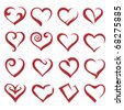 set of sixteen icons of hearts - stock photo