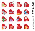 set of sixteen medical icons in the form of heart - stock vector