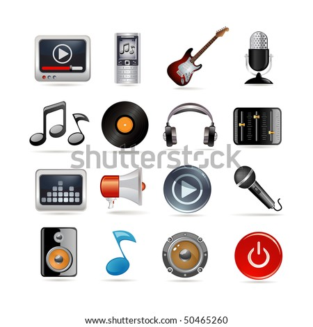 Set of sixteen music icons - stock vector