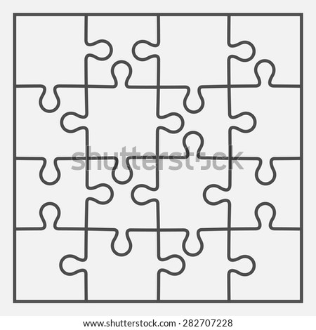 Set Of Sixteen Puzzle Pieces Vector Illustration Eps 8