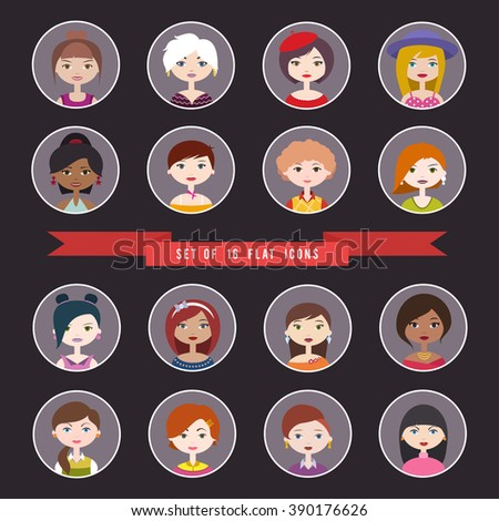 Set of sixteen round women profile icons. Flat style vector illustration