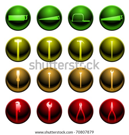 Set of sixteen tool and hardware icons - stock vector