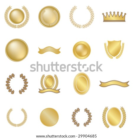 Set of sixteen wreaths and medallions - stock vector