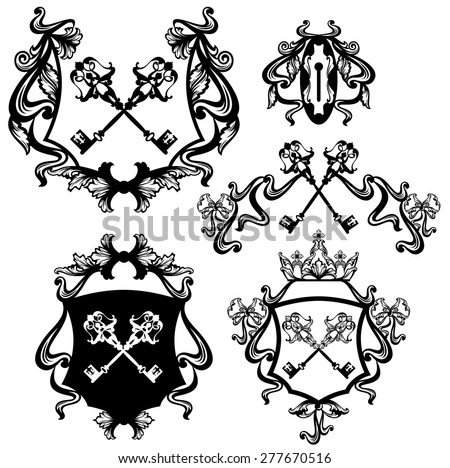set of skeleton keys heraldry with royal crown and ribbon bows - black and white vector collection - stock vector