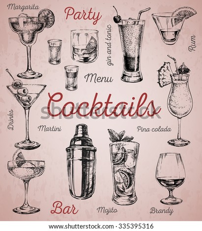 Set of sketch cocktails and alcohol drinks vector hand drawn illustration - stock vector