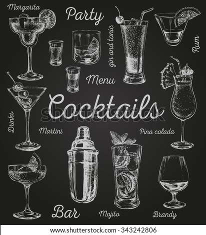 Set of sketch cocktails and alcohol drinks vector hand drawn illustration Set of sketch cocktails and alcohol drinks vector hand drawn illustration - stock vector