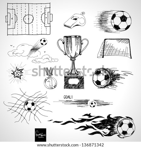 Set of sketch football elements - stock vector