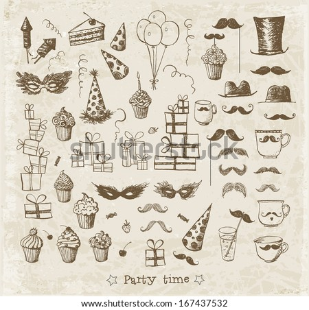 Set of sketch party objects hand-drawn with ink in vintage style. Vector illustration.  - stock vector