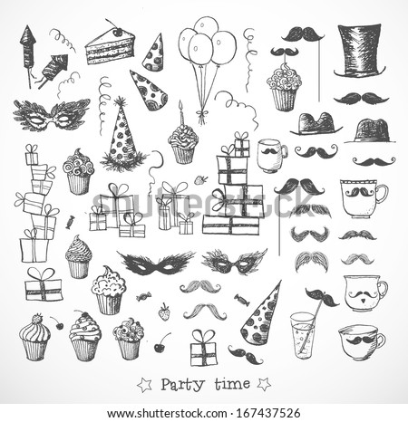 Set of sketch party objects hand-drawn with ink. Isolated on white. Vector illustration. party - stock vector