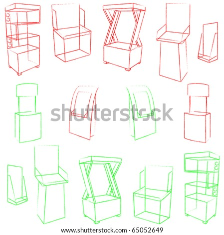 set of 14 sketch red display. vector illustration - stock vector