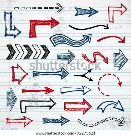 Set of sketched arrow shapes on notepad background - stock vector