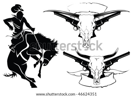 set of sketches for the design and tattoo in style wild west - stock vector