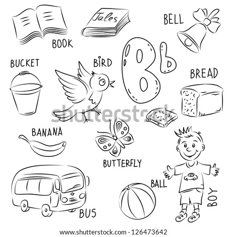 9 letter words starting with b set sketches style set collected stock vector 20311 | stock vector set of sketches in a cartoon style in the set are collected words that begin with the letter b 126473642