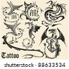 Set of sketches of tattoos of a dragon - stock vector