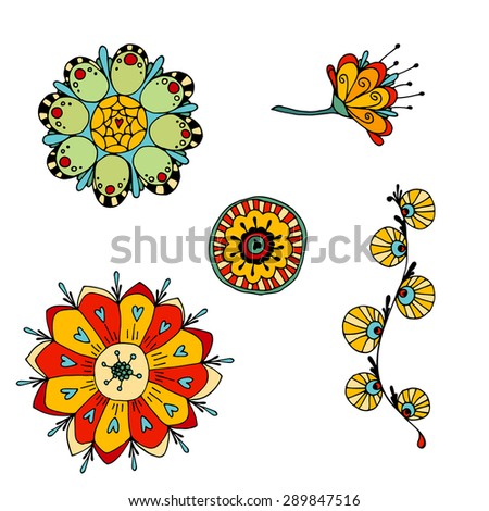 set of sketchy colored doodle flowers. Vector illustration - stock vector