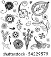 set of sketchy doodle flowers - stock vector