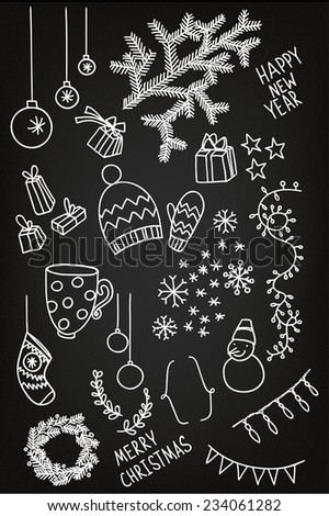 Set of sketchy doodle winter elements - stock vector
