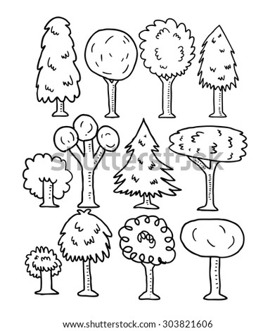 set of sketchy line art trees - stock vector