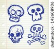set of sketchy skull icon - stock vector