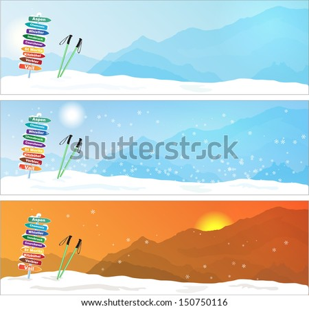 Set of Ski trip Banners  with most famous ski destinations - stock vector