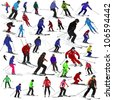 Set of skiers - stock vector