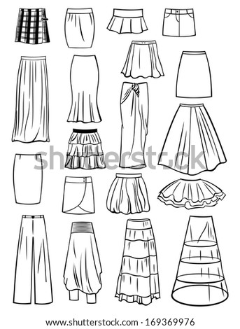 Set of skirts isolated on white background - stock vector