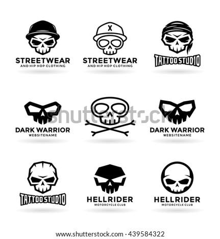 Set of skulls and logo design elements (5) - stock vector