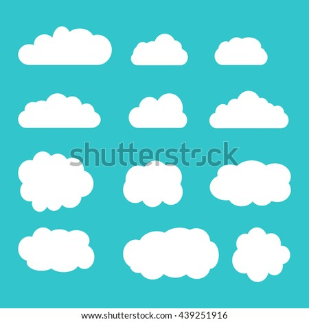 Set of sky, clouds. Collection of cloud icon, shape, label, symbol. Graphic element vector. Vector design element for logo, web and print. Set of different clouds. Cloud icon, cloud shape.  - stock vector