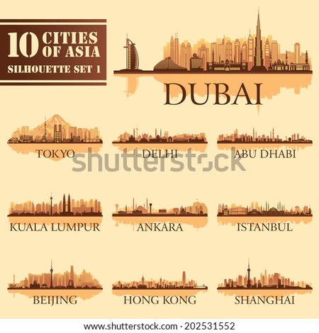 Set of skyline cities silhouettes. 10 cities of Asia 1. Vector illustration - stock vector