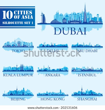 Set of skyline cities silhouettes. 10 cities of Asia 1. Vector illustration
