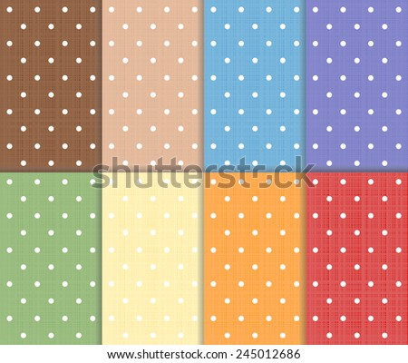 Set of small polka dot seamless colorful pattern. Red, yellow, blue, orange, green, purple and brown color design with white dots. Vector art image illustration background wallpaper collection, eps10 - stock vector