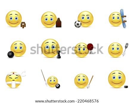 Set of smiles sport edition - stock vector