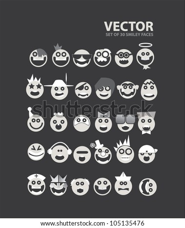 Set of 32 SMILEY Faces - stock vector