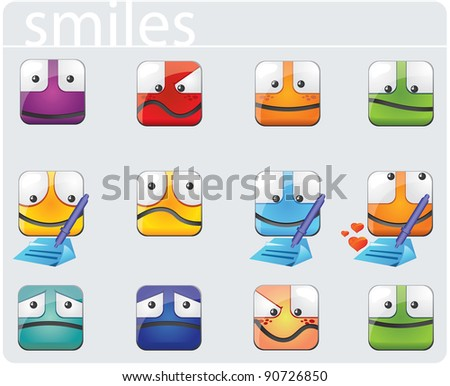 set of smiley faces - stock vector