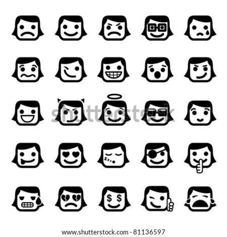 Set of 25 smiley faces. women characters - stock vector