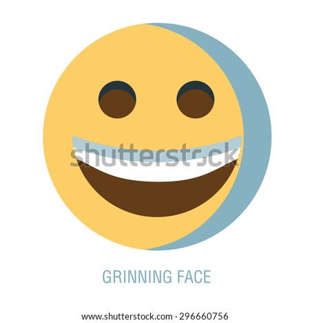 Set of smiley icons: different emotions. emoticon on a white background. A Vector Cute Cartoon Face with big toothy smile. Grinning face. Emoji face. - stock vector