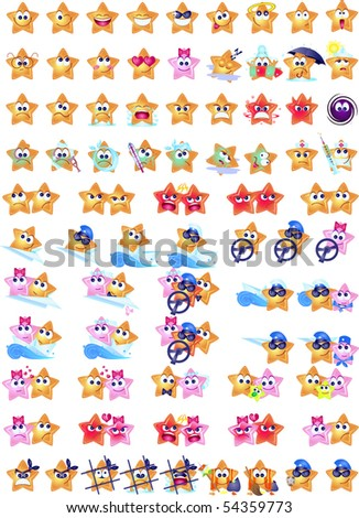 Set of smiley stars: in various facial expressions. - stock vector