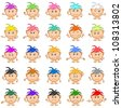 Set of smilies girls with colored hair, symbolising various human emotions. Vector - stock photo