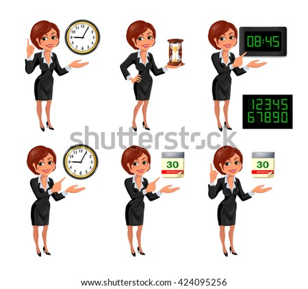 Set of smiling cartoon businesswoman points to the deadline. Girl in suit with clock, hourglass, digital clock and tear-of calendar. Vector illustration isolated on white background. - stock vector